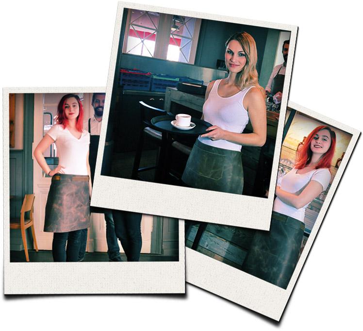 Polaroidbilder von Kellnerinnen und Kellnern
